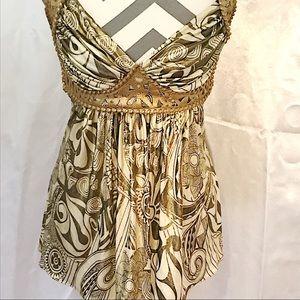 Sky Gold Silk Grecian Top with Foil Printing Sz Sm